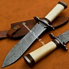 12'' long Custom Hand Made Damascus DAGGER with Cross Guard &FREE leather Sheath