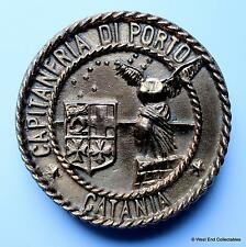 Solid BRONZE Capitaneria Di Porto Catania - Italian Navy Tampion Plaque Crest