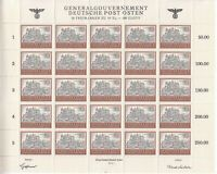 Stamp Germany Poland General Gov't Mi 116 Sheet 1943 WWII 3rd War Castle MNH