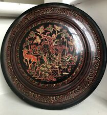 Vintage Burmese Lacquer Hand Painted Round Lidded Box