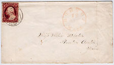 "#26A-3 Cents 1857, 6L11e, ""BOSTON 12 JAN Mass."" large ""PAID"" circular grid 1858"
