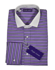 Ralph Lauren Purple Label Striped French Cuff Dress Shirt New $450