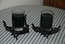 Set of 2 Metal Tree Branch Candle Holders With Candles - Rustic Home Decorations