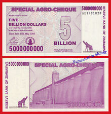 ZIMBABWE 5 billion 5000000000 dollars dolares 2008 Pick 61 SC / UNC