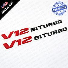 2x Red V12 Black BITURBO Side Fender Logo Nameplate Emblem AMG Decoration