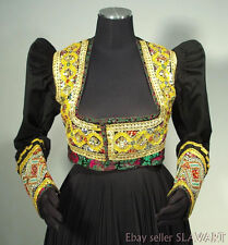 ANTIQUE German folk costume jacket black wool decorative European ethnic style