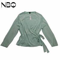 J.CREW Womens Wrap Top Green Tie Front Long Sleeve Surplice Neck Blouse XL New