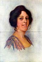 Italienische Straßensängerin XXL Kunstdruck 1909 von Pless-Scharlach Italien