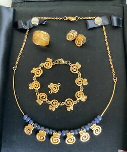 LA Cano Repro Pre Columbian Necklace Earrings Bracelet Ring 24K Gold Plated