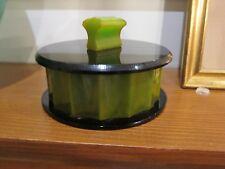 Rare Bakelite Box - Finial is unusual - green & black.