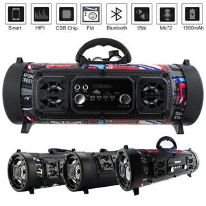 Portable Wireless Bluetooth Speaker Stereo Bass Outdoor Music AUX FM Radio USB