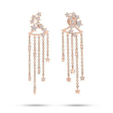 0.25CT 14K Rose Gold Diamond Star Constellation Dangle Earring Jacket With Studs