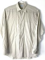 Men's Long Sleeve Shirt, Barneys New York, Size L, Beige Made in Italy
