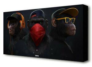 3 Three Wise Swag Chimps Monkeys Modern Street Black Canvas Print Wall Art Cool