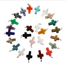 Wholesale 25pcs mixed natural gemstone cross beads pendants for Jewelry making