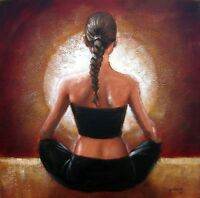 Yoga Light by pollard brunette 12x12 signed art print figure female ponytail