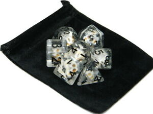 New 7 Piece Polyhedral Stone Skull Dice Set W/ Dice Bag D&D RPG White Clear