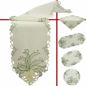 White Lily of the valley Embroidery Table runner Overlay Tablecloth Doily Cream