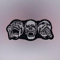 Three Skulls Patch — Iron On Badge Embroidered Motif — Biker Skull Rider No Evil