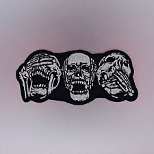 Three Skulls Patch — Iron On Badge Embroidered Motif — Biker Skull Rider No Evil
