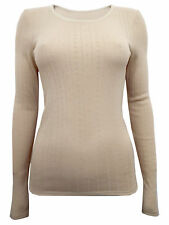 Ladies Marks and Spencer Light Camel Thermal Long Sleeve Vests Pack of 2 Size 16
