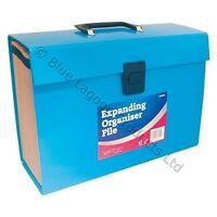 19 Pocket Expanding Box File Organiser A4  Documents Paper Foolscap Folder BLUE