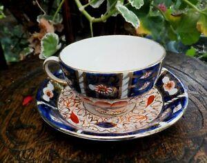 Antique Imari Arthur Wood Tea Cup & Saucer Bright  Art Deco Blue Red Gold