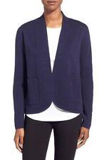 Eileen Fisher Silk Cotton Interlock Oval Jacket, Midnight, PP Nwt