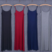 Lady Modal A Line Long Slips Dress Sleeveless Baggy Casual Beach Tank Undershirt