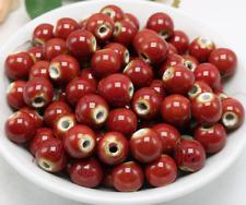 un lote 20 cuentas de cerámica-bola de cerámica roja- para DIY bisuteria