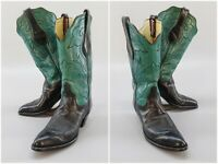 Rodney Ammons Custom Hand Made Womens Jade Green & Black Leather Cowboy Boots