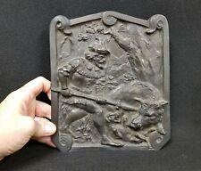 Antique German Solid Bronze Plaque Wild Boar Hunting
