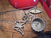 4 Anciens Moules à Tremper la Pate à Beignet dans l'Huile:Aluminium