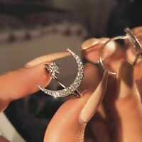 Women Crescent Moon and Tiny Star Adjustable Ring Silver Gold Plated Jewelry