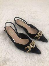 ZARA Suede Slingback Gold Chain Kitten Heel Black Shoes Size US 6/ EUR 36 NWOT