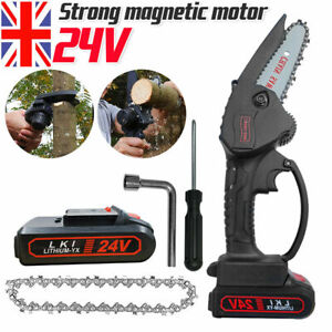 UK Handheld Cordless Electric Chainsaw Rechargeable Mini Small Wood Cutter Tool