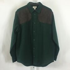 LL Bean Men's Shooting Chamois Shirt Padded Shoulders Elbow Patches Green Size L