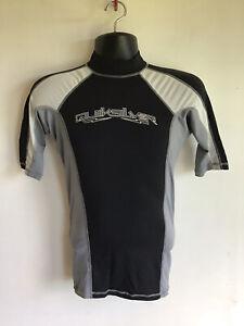 Quiksilver surfing rashgard mens Small, grey, white and black, UV tech
