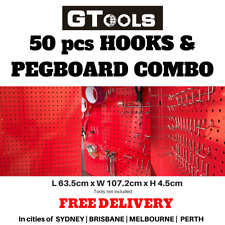 Steel Pegboard 50pcs Hook Combo Shed Garage Hanging Wall Tool Organiser