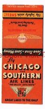 1930s Chicago & Southern Airlines Shell Aviation Fuel Matchcover
