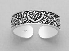 TJS 925 Sterling Silver Heart Diamond Poker Design Toe Ring Adjustable Oxidised