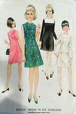 Vtg 1960s Mod Chic Cocktail or Day Dress  McCall's 9000 Size12 Bust 32