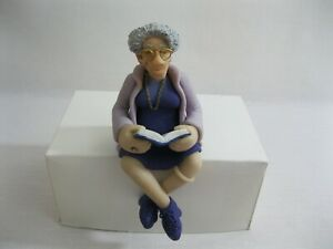 New! Grandma Reading Book Clay Shelf Sitter Figure Diana Manning Limited Edition