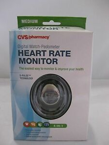 CVS 4 in 1 Watch, Heart Rate Monitor Digital, Pedometer Large