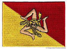 SICILY FLAG embroidered iron-on PATCH ITALIAN ITALY Sicilia APPLIQUE Trinacria
