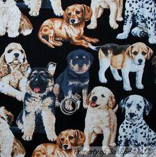 BonEful Fabric FQ Cotton B&W Puppy Baby Dog Breed Dalmatian German Shepherd Lab