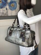 COACH 10597 SOHO Large Metallic Silver Leather Satchel Shoulder Handbag Purse