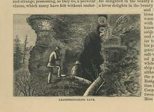 New listing ANTIQUE OTSEGO NEW YORK COOPERSTOWN LEATHERSTOCKING CAVE MEN SMALL OLD ART PRINT