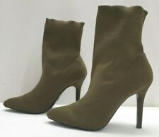 PRIMARK ladies womens khaki green stretchy fabric pointed boots Size 7 EU 40