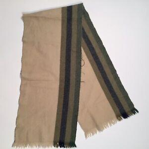"""Vintage Italian Made Virgin Wool Winter Scarf Beige 10"""" x 64"""""""